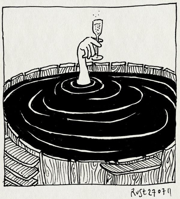 tekening 1530, bubbels, champagne, groningen, hot tub, janine, proost, prosecco, water