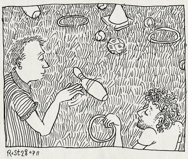 tekening 1531, dave, dobbelsteen, gras, groningen, kegel, ring, ringwerpen, spel, spellen, westeremden