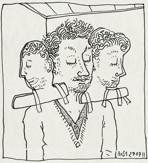 tekening 1532, drie, hoofd, hoofden, overvol, wens, werk