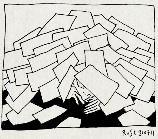 tekening 1534, bedolven, berg, slapen, tekeningen,blaadjes