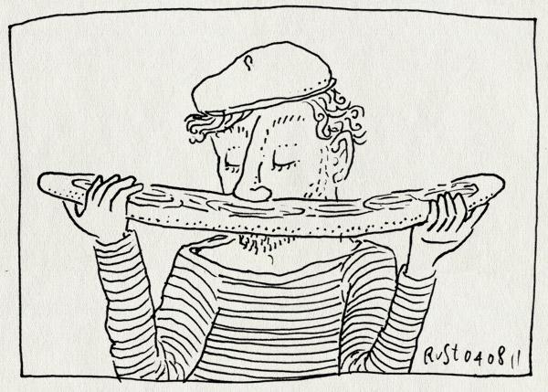 tekening 1538, baguette, baret, cliche, fransman, parijs, ruiken, stokbrood