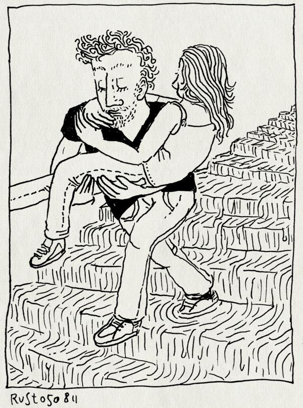 tekening 1539, 10e, dragen, martine, montparnasse, parijs, regen, sacre coeur, stortbui, trappen