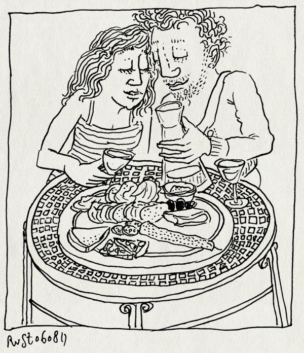 tekening 1540, 10e, eten, lekker, martine, parijs