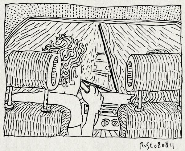 tekening 1542, 10e, auto, martine, parijs, regen, ruitenwisser, saab, terugweg