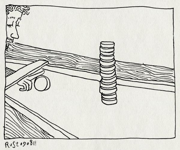 tekening 1543, nostalgie, sjoelbak, sjoelen, sjoelstenen