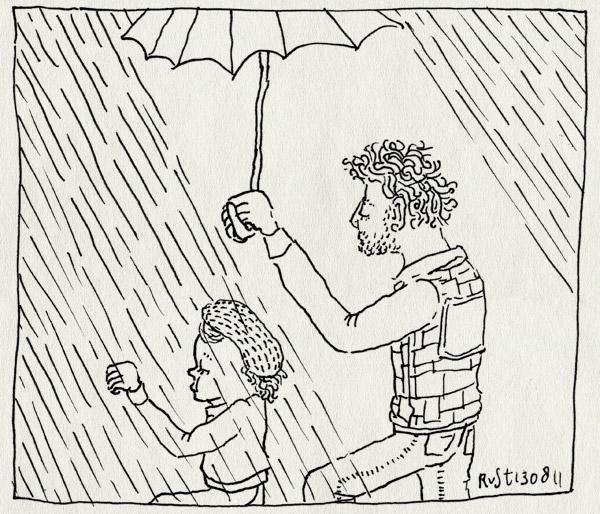 tekening 1547, alwine, doen alsof, muts, nat, paraplu, regen
