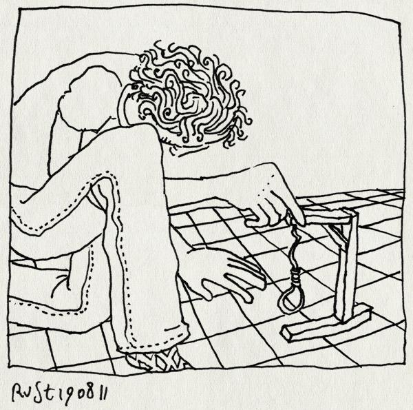 tekening 1553, flo, galgje, keuken, muien, muizenval, tegelvloer, vangen