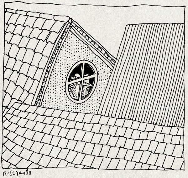 tekening 1558, camping, eng, gluren, hoed, slijmerige henk, spannend, texel