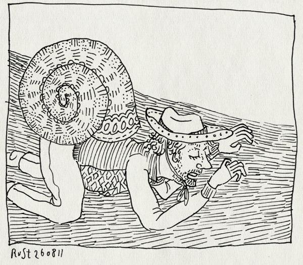 tekening 1560, cowboyhoed, legende, slak, slijmerige henk, texel, vakantie, verhaal
