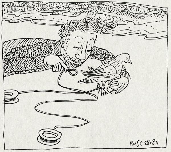 tekening 1562, duif, meeuw, strand, texel, vakantie, vlieger, vogel