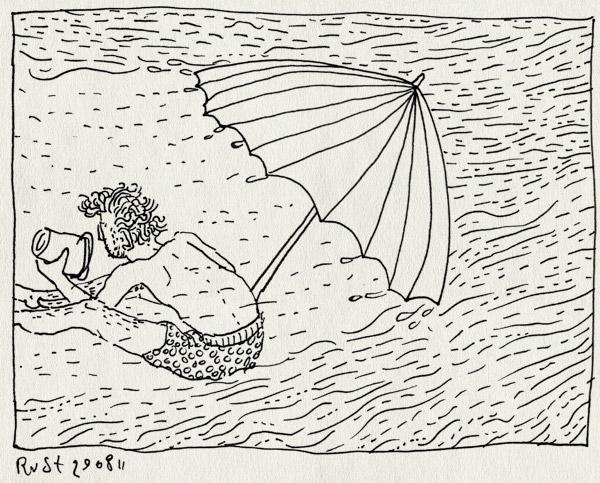 tekening 1563, parasol, regen, spelen, strand, texel, vakantie, wind, zand, zwembroek