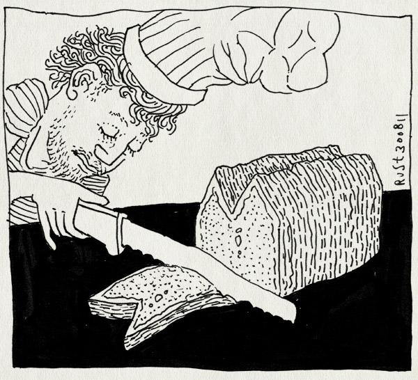 tekening 1564, brood, huis, huisjes, kok, mes, snijden