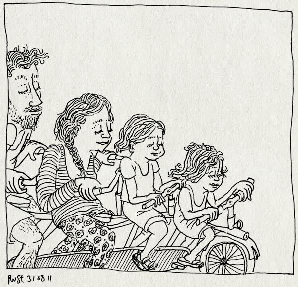 tekening 1565, alwine, fiets, fietsen, martine, midas, quatandem, tandem, texel, vakantie