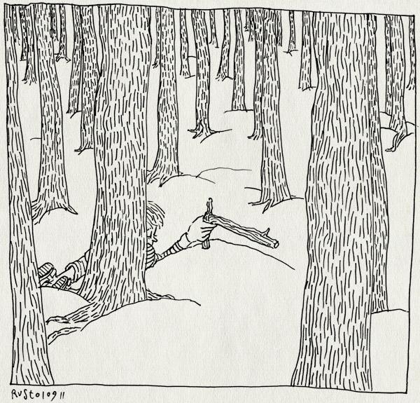 tekening 1566, bomen, bos, duinen, midas, pieuw, pieuwer, pistool, tak, texel, trees