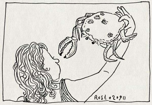 tekening 1567, alwine, babykrabje, krab, strand, texel, vakantie