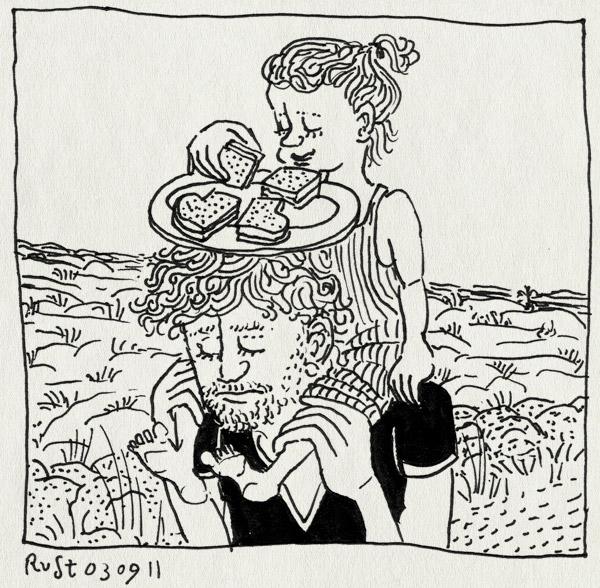 tekening 1568, alwine, bediende, bord, broodje, heide, nek, prinses, schouders, texel, tillen, vakantie