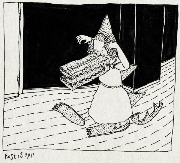 tekening 1578, alwine, krokodil, schrikken, verkleden, waaaaah