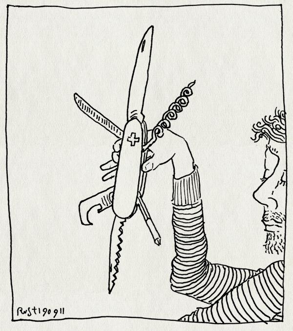 tekening 1579, filmfanfare, zakmes, zwitsers