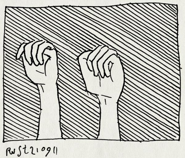 tekening 1581, druk, handen, stomme tekening