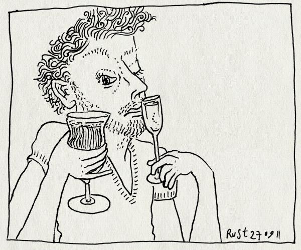 tekening 1587, champagne, keuze, lelijk, oog, wijn, wijnproeven