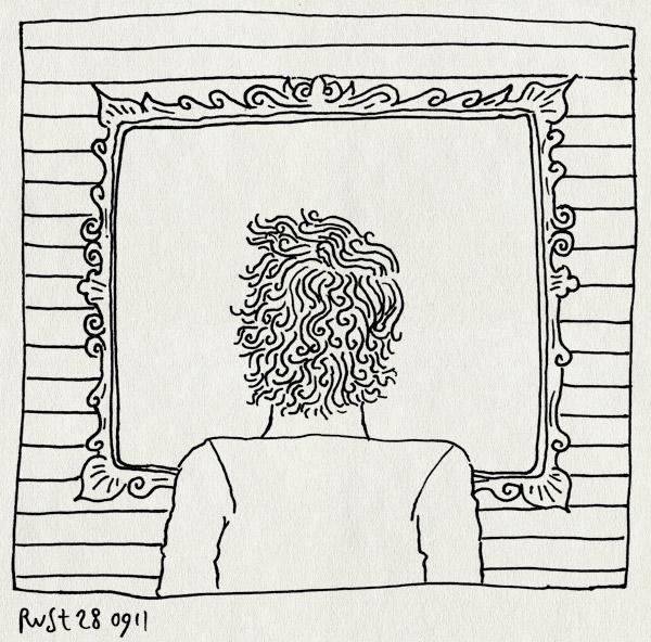 tekening 1588, achterhoofd, lijst, magritte, schilderij, spiegel