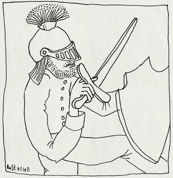 tekening 1591, feestje, helm, midas, moach, risser, schild, zwaard