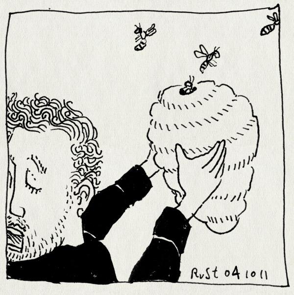 tekening 1594, bijen, eng, honing, maasstraat, nest, snachts, wespen