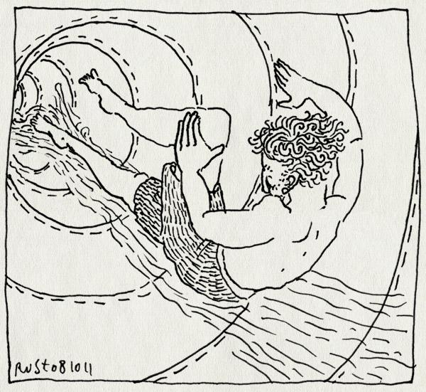 tekening 1598, glijbaan, glijden, mirandabad, water
