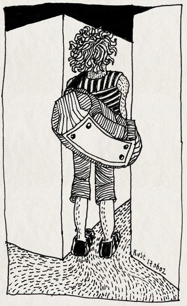 tekening 16, gangetje, krullen, mouwloos, smal, tas, weekendtas, zelfportret