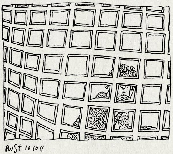 tekening 1600, achterlangs, fiets, vakjes, vierkantjes