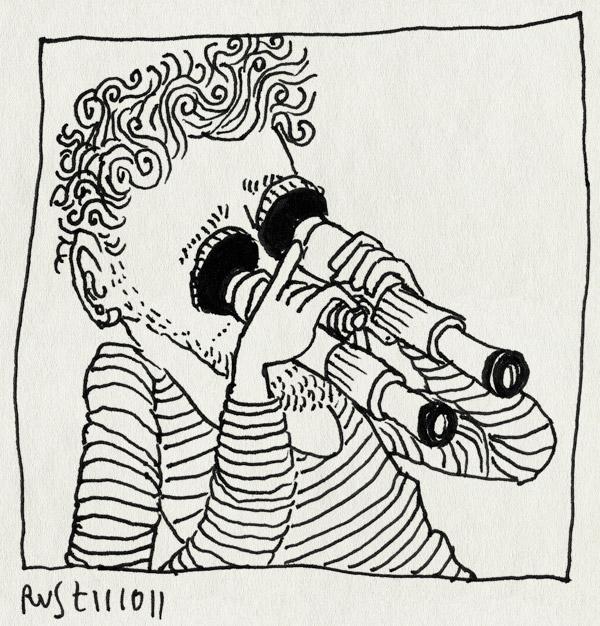 tekening 1601, achterstevoren, introspectie, kijken, verrekijker