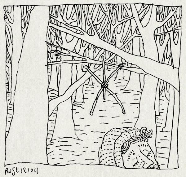 tekening 1602, blair witch project, bos, broederschap der foute films, film, kijken, takken