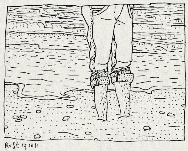 tekening 1607, amputatie, drijfzand, noordzee, opgeronde broekspijpen, schelpen, strand, voeten, weg, zalnd, zee