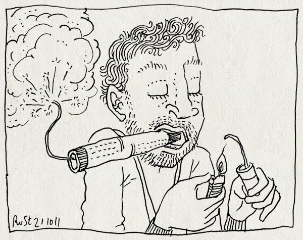 tekening 1611, ansteken, klapsigaar, sigaar, vuurwerk