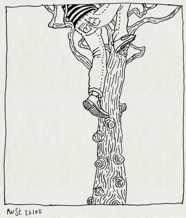 tekening 1613, boom, klimmen, stompjes