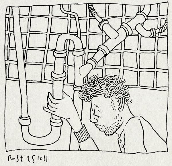 tekening 1615, afvoer, buizen, gedoe, keuken, lekkage, loodgieter