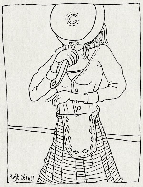 tekening 1616, 10e, koken, martine, pan