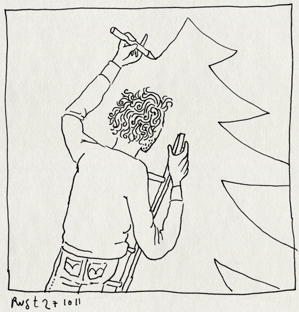 tekening 1617, kerstboom, kerstmis, muur, tekening