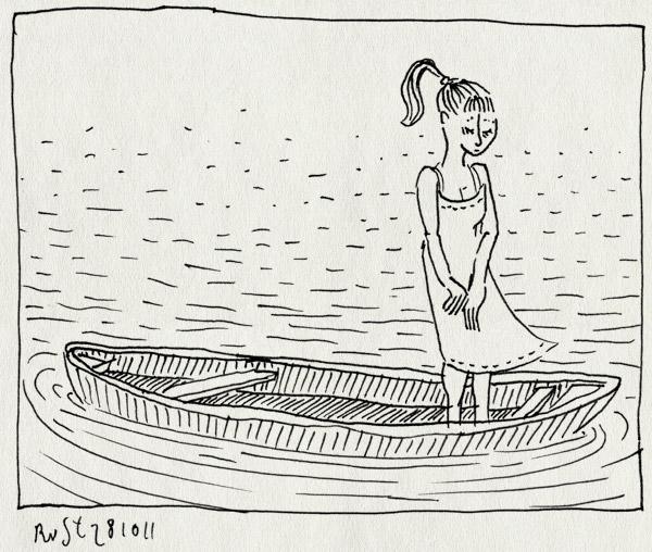 tekening 1618, boot, hanco kolk, justine keller, meisje, spinvis, tekening