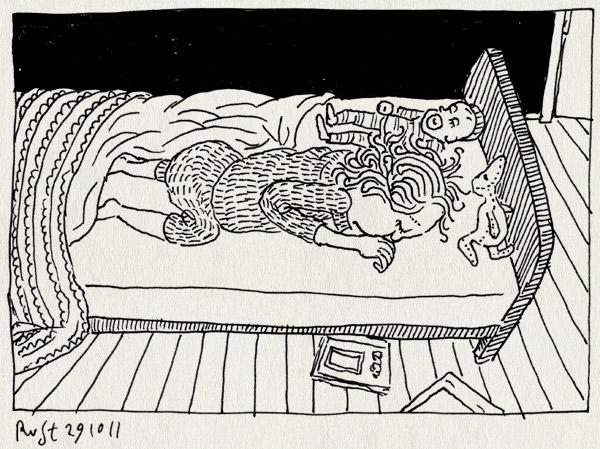 tekening 1619, aleine, bed, deken, koud, poppen, slapen, warm