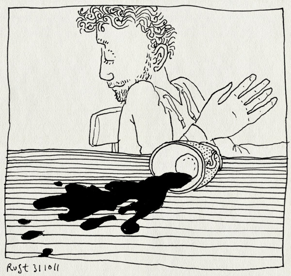 tekening 1621, koffie, omstoten, onhandig, recensiekoning