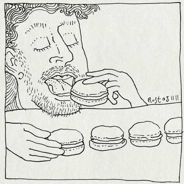 tekening 1626, eten, lekker, lijntje, macarons, tout, veel