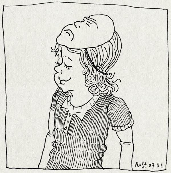 tekening 1628, actrice, alwine, blij, boos, dubbel, masker, toneelspeelster