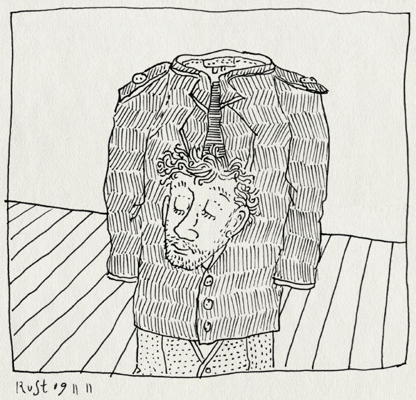 tekening 1630, goochelaar, goochelen, goocheltruc, hoofd, jas, truc