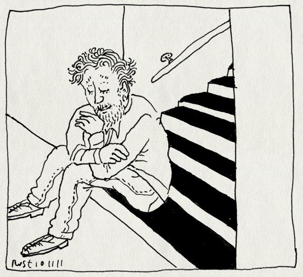 tekening 1631, denken, maasstraat, onderaan, trap, wachten, zitten