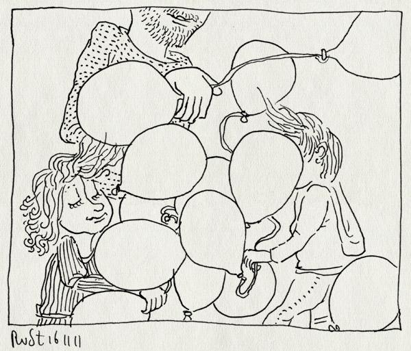 tekening 1637, alwine, balonnen, balonnengevecht, feest, leuk, lint, modas