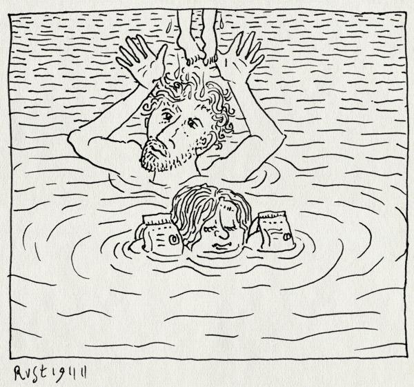 tekening 1640, alwine, gooien, hof van saksen, midas, water, zwembad, zwembandjes