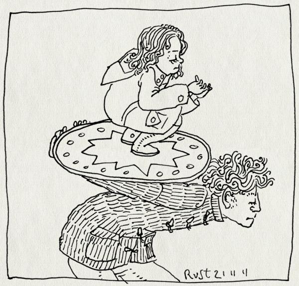 tekening 1642, alwine, dragen, koningin, prinses, schild, tillen, troon, vorstelijk