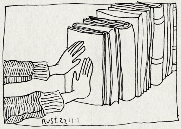 tekening 1643, boeken, boekensteun, handen, steunbeer