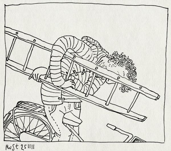 tekening 1646, burorust, fiets, fotoshoot, ladder, micompany, noord, werk